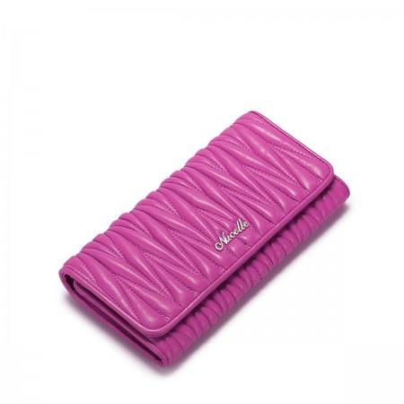 Mehka denarnica iz ovčjega usnja roza