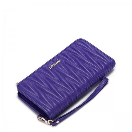 Mehka denarnica iz ovčjega usnja z zadrgo vijolčna