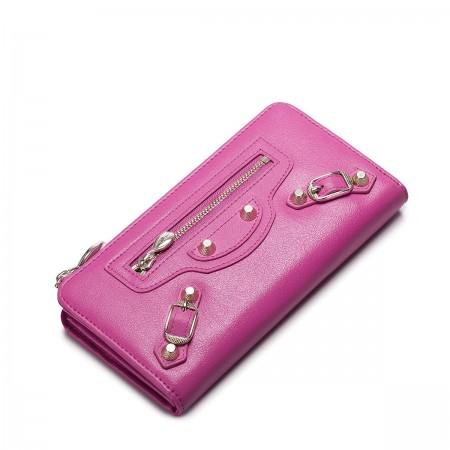 Usnjena denarnica Candy z zadrgo roza