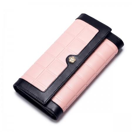Dvobarvna usnjena denarnica roza