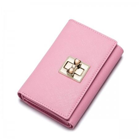 Usnjena denarnica z kristalno zaponko roza