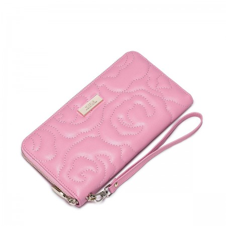 Usnjena denarnica Camellia pink