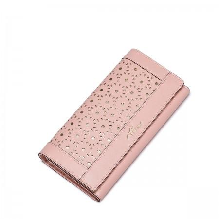 Elegantna vzorčasta usnjena denarnica na preklop roza