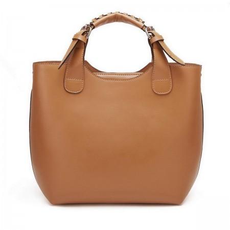 NUCELLE Ženska torbica iz pravega usnja rjava