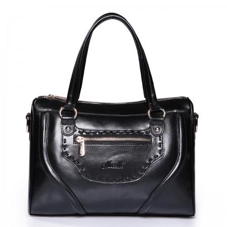 Črna klasična usnjena torbica
