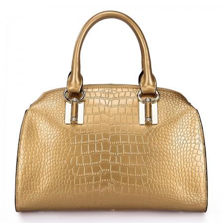 NUCELLE Ženska torbica iz pravega usnja zlata