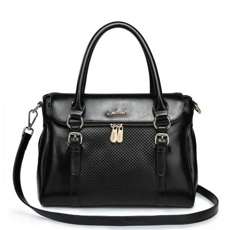 NUCELLE Ženska torbica iz pravega usnja črna