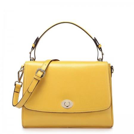 NUCELLE Ženska torbica iz pravega usnja rumena