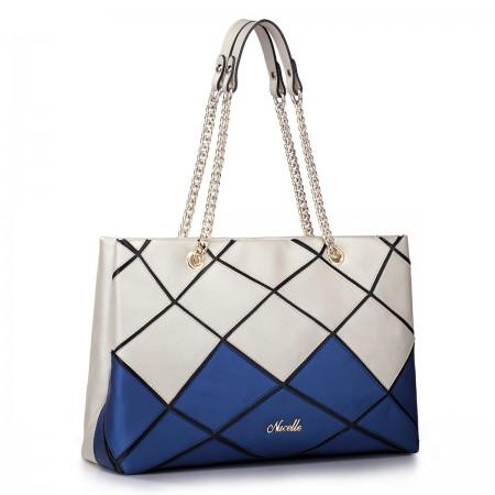 Kontrastna usnjena torbica bež 1170505-08