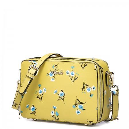Usnjena rumena torbica vzorec rože