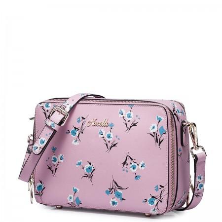 Usnjena roza torbica vzorec rože