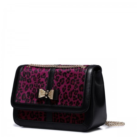 Dekliška usnjena torbica Leopard roza