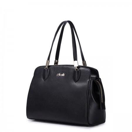 Črna usnjena torbica za čez ramo