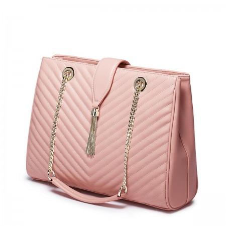 Kakovostna elegantna usnjena torbica roza