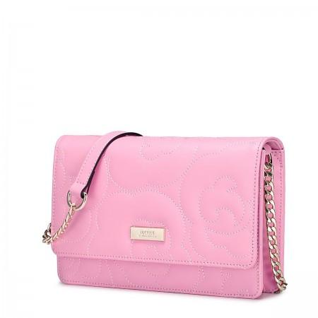 Usnjena torbica Flower roza