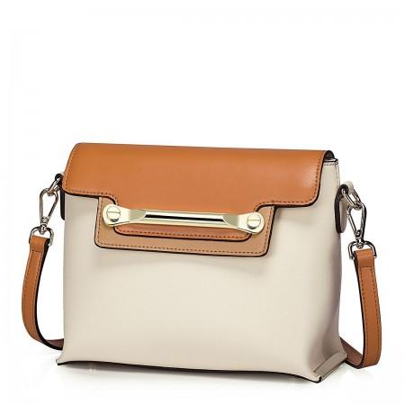 Večbarvna usnjena torbica bež