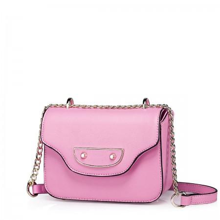 Elegantna mini usnjena torbica roza