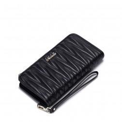 Mehka denarnica iz ovčjega usnja z zadrgo črna