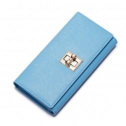 Usnjena denarnica z zaponko modra