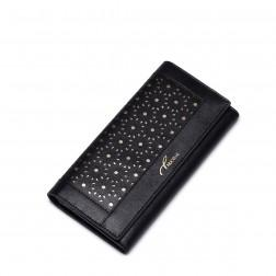 Elegantna vzorčasta usnjena denarnica na preklop črna