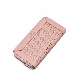 Elegantna vzorčasta usnjena denarnica roza