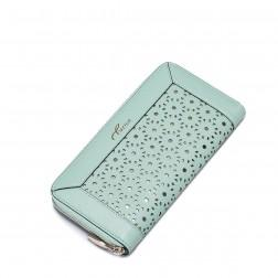 Elegantna vzorčasta usnjena denarnica zelena