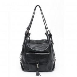 NUCELLE Ženska usnjena torbica črna