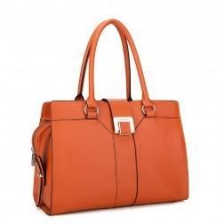 NUCELLE Ženska torbica iz pravega usnja oranžna