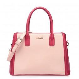NUCELLE Ženska torbica iz pravega usnja roza