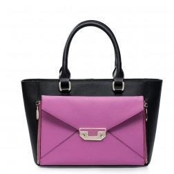 Črno-vijolična kombinacija torbica