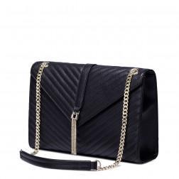 Usnjena torbica Top črna