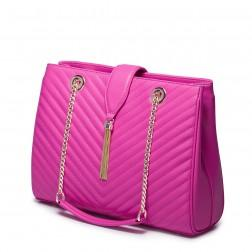 Kakovostna elegantna usnjena torbica pink