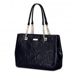 Usnjena dizajnerska torbica črna