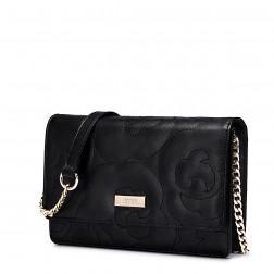 Usnjena torbica Flower črna