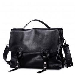 Športna usnjena torba črna