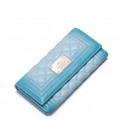 NUCELLE Portefeuille long en cuir matelassé bleu