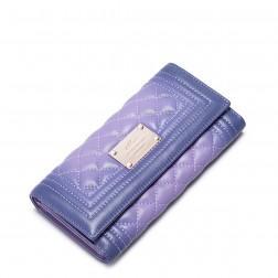 NUCELLE Portefeuille long en cuir matelassé violet