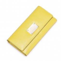 Porte feuille en cuir jaune