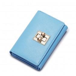 Porte-monnaie à rabat et fermoir pivotant bleu