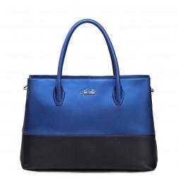 Shopper bicolore bleu/noir