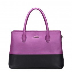 Shopper bicolore violet/noir