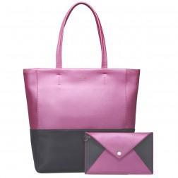 Sac à main shopper rose/noir