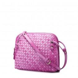 Petit sac cuir tressé rose