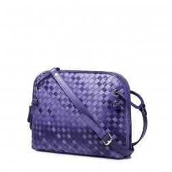 Petit sac cuir tressé violet