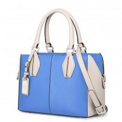 Sac tote bicolore bleu/beige
