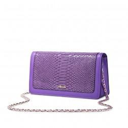Peti sac à chaîne imprimé animal violet