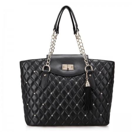 Women's diamond texture handbag black