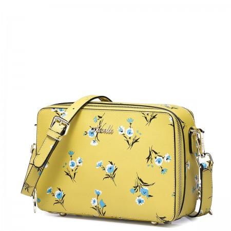Flower high-grade natural leather messenger bag blue