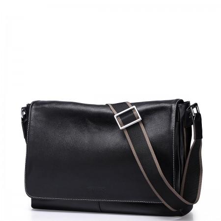 SAMMONS top grade cowhide leather messenger bag Black