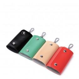 Leather candy color key bag Red